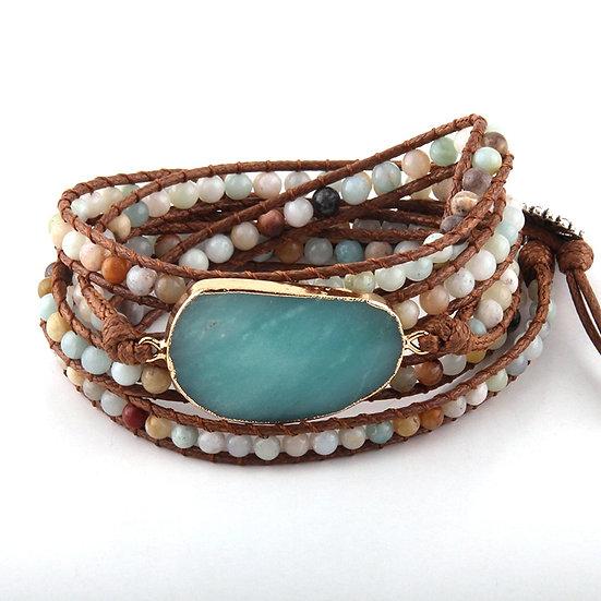 Boho Bracelet Handmade Woven Mixed Natural Stones