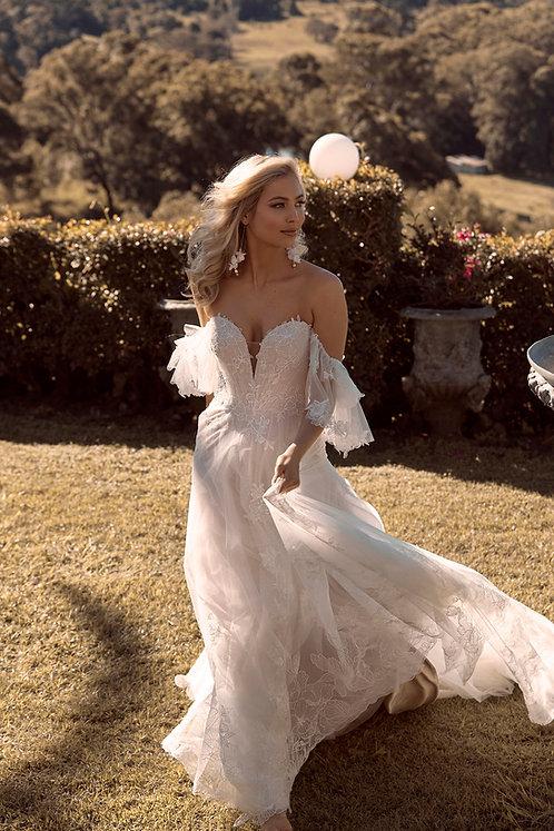 bronte bridal studio madi lane strapless off  the shoulder lace aline