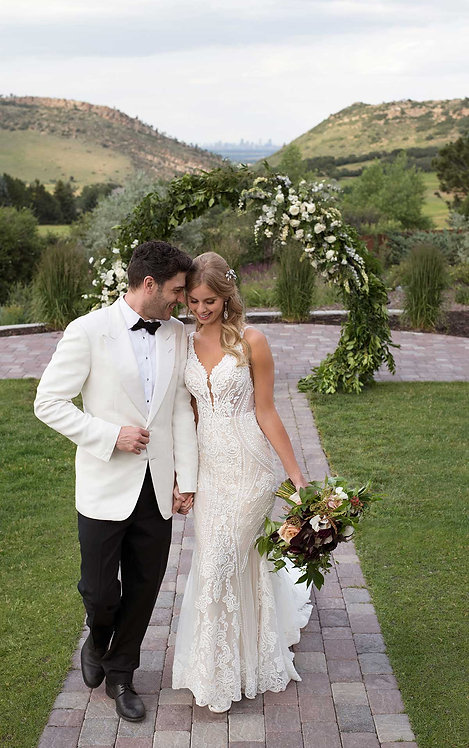 Fleur martina liana wedding gown lace vneck lace beading