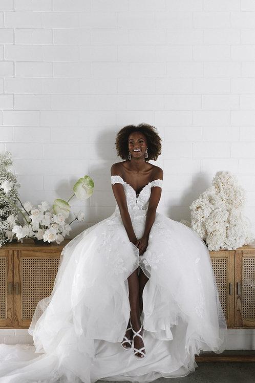 hattie essense ball gown off the shoulder lace bridal studio