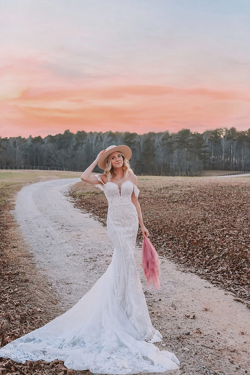 Kylo bridal studio wedding gown essense off the shoulder lace strapless
