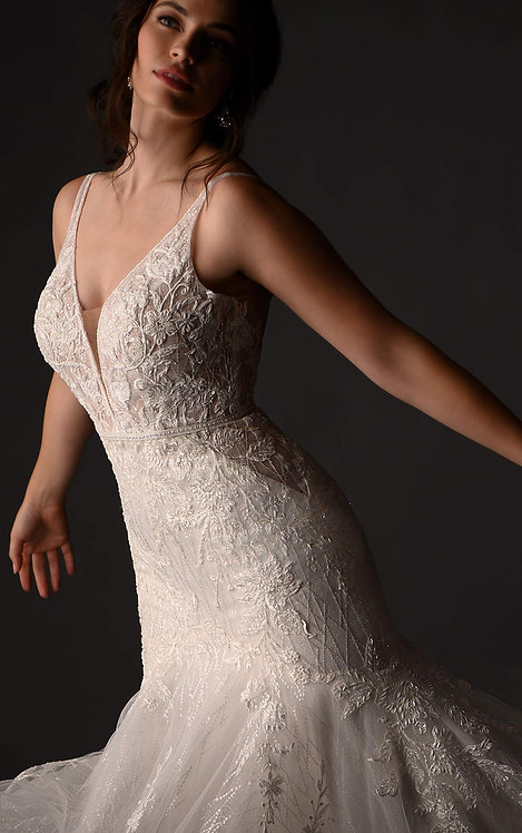 martina liana lace v neck couture lace texture bridal studio