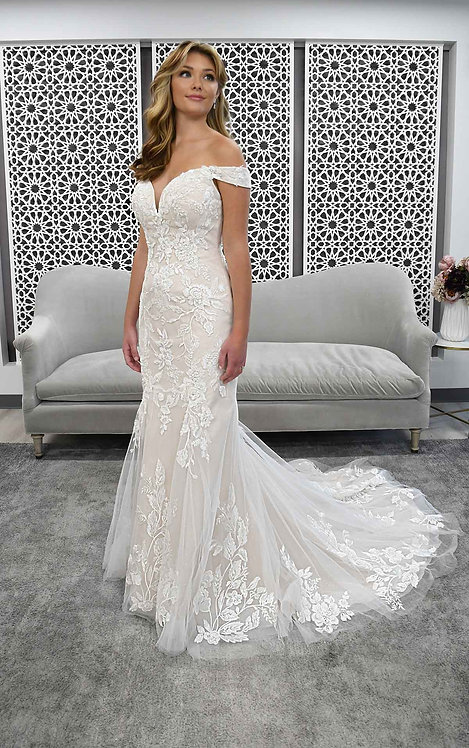henley bridal studio stella york off the shoulder lace fitted