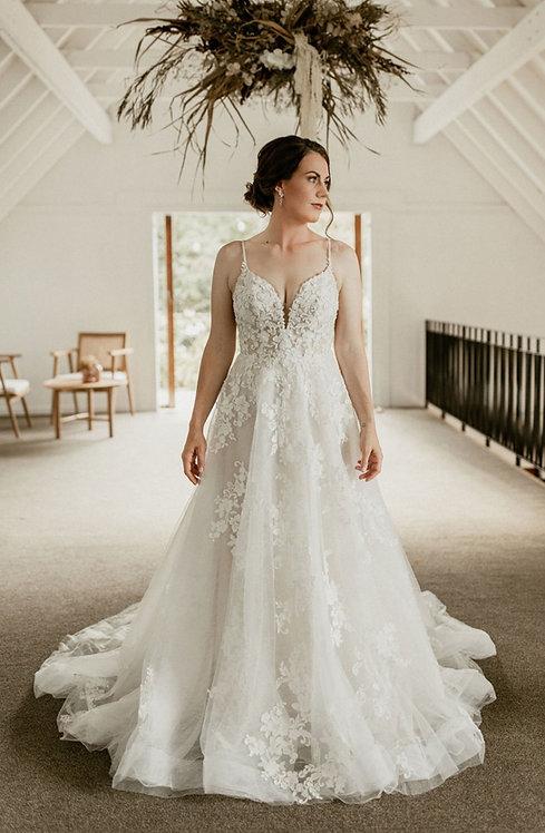Christa bridal studio valley rose aline lace pretty vneck back