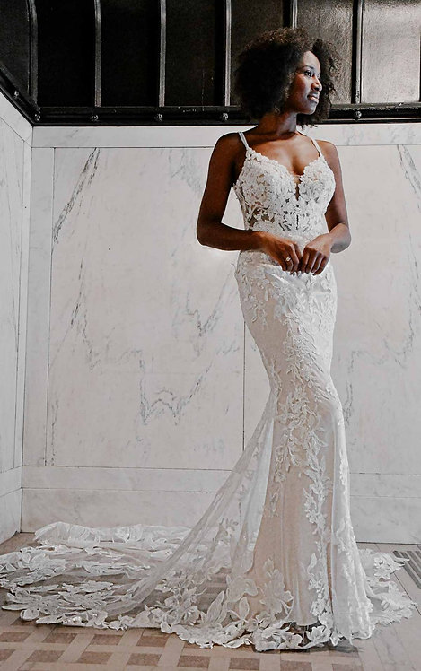 aria essense bridal studio lace v neck fitted wedding gown