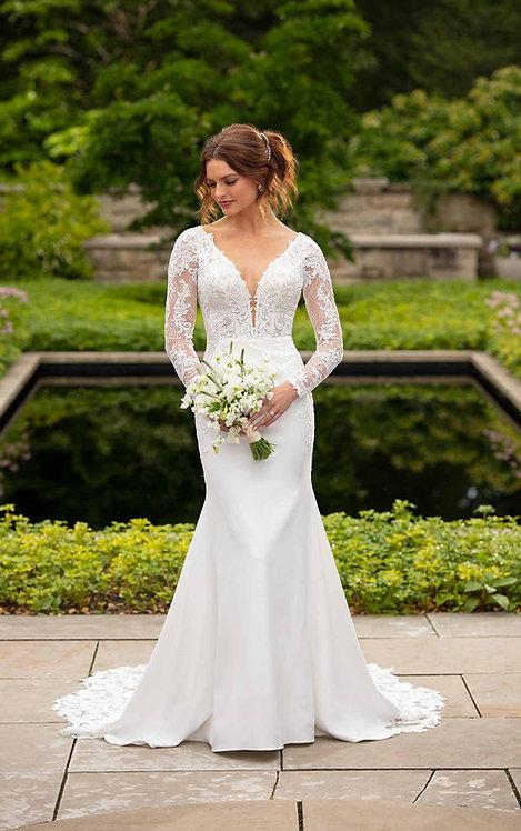 Bonnie essense bridal studio lace sleeves cut outs lace crepe