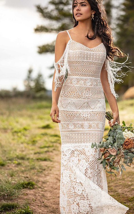 asher bridal studio all who wonder lace boho off the shoulder wedding gown