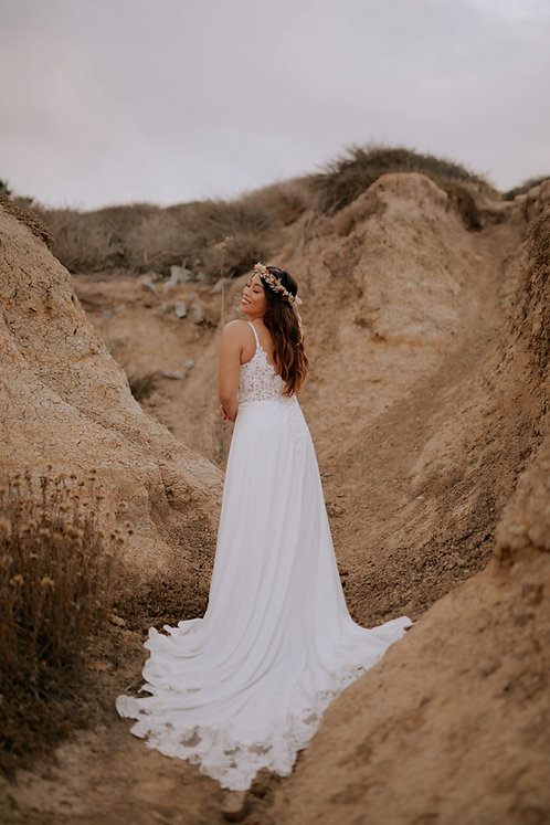 maren essense chiffon lace aline floaty vneck bridal studio