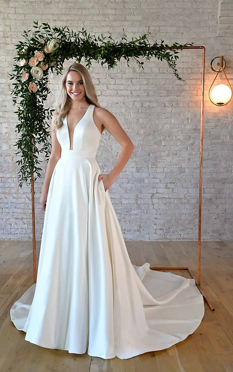 amalia stella york bridal studio satin bow low back plain