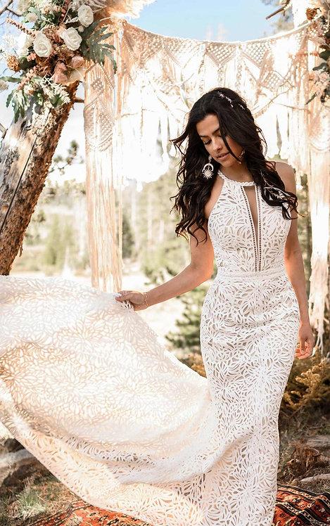 adley all who wonder bridal studio wedding gown high neck key hole back