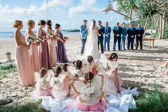 Stunning bridemaids dresses with the super cute fairies  Photography by Jennifer McCue