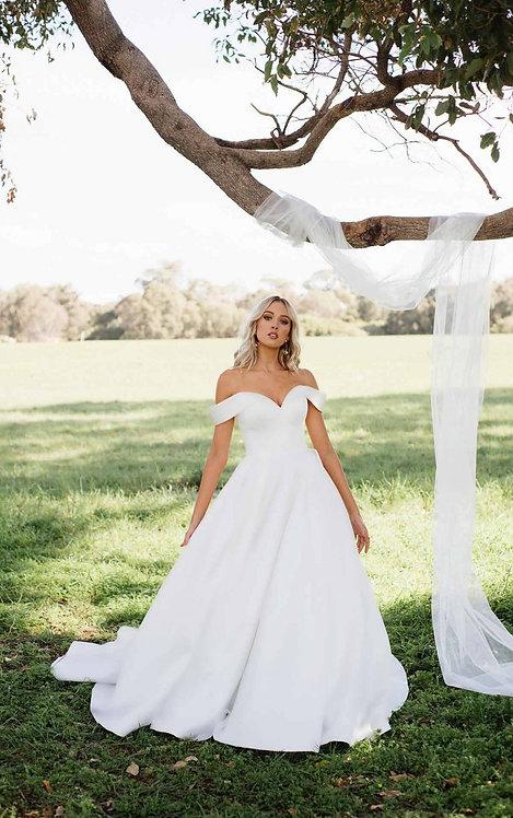 sandi essense bridal studio plain mikado pockets strapless