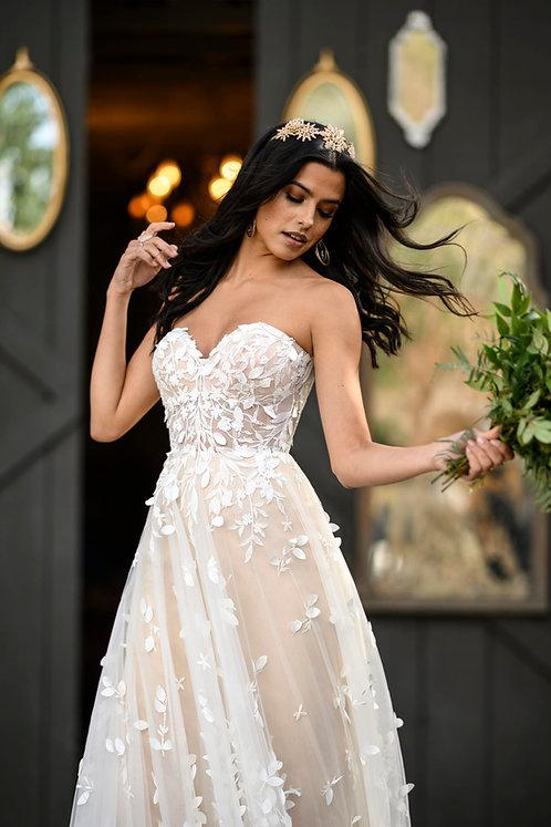 raine all who wonder strapless lace aline boho texture bridal studio