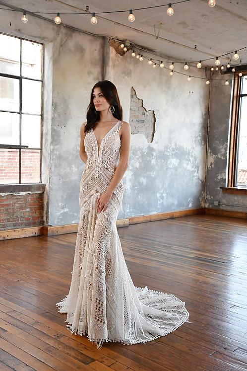 micah all who wonder booh lace tassels vneck lace sheath bridal studio