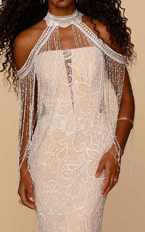 wren fringe bridal jacket boho highneck drap