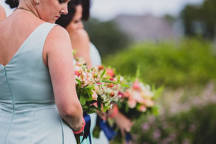 peach and blue bridesmaids bouquet
