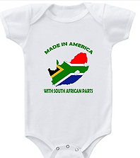 Baby Bodysuit Made in America with South African Parts Boy & Girl Clothes White