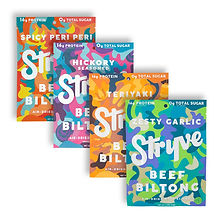 Stryve Protein Variety Snack Pack | Air Dried 100% Beef Biltong | Lighter than Jerky | No Carb, No Sugar | 16g Protein | 4 Pack of 2.25oz