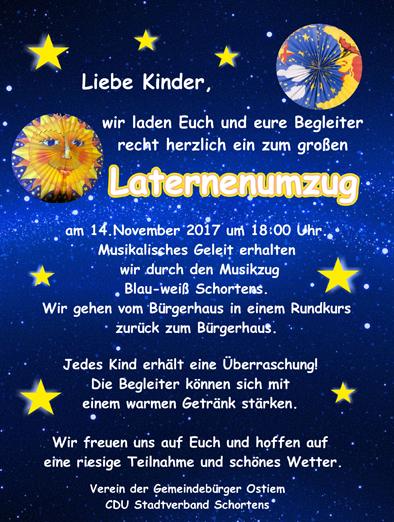 14. November 2017, Laternenumzug, CDU, Gemeindebürger Ostiem
