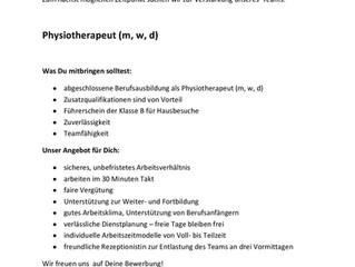 Verstärkung gesucht - Physiotherapeut (m/w/d)