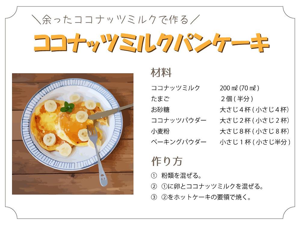 カレーを作ったときに余ったココナッツミルクを使ったパンケーキのレシピです。