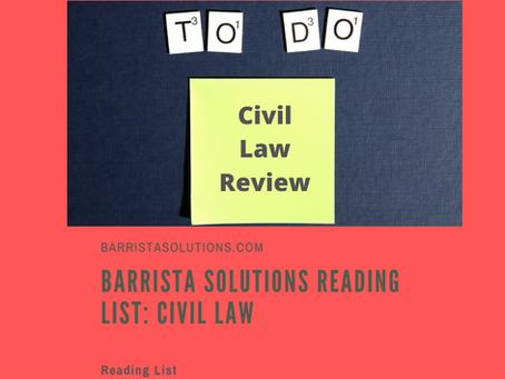 Barrista Solutions Reading List: Civil Law