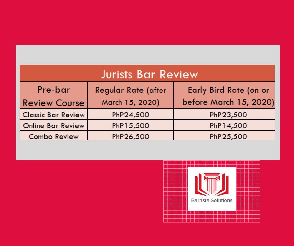 Jurists Bar Review Fee Structure