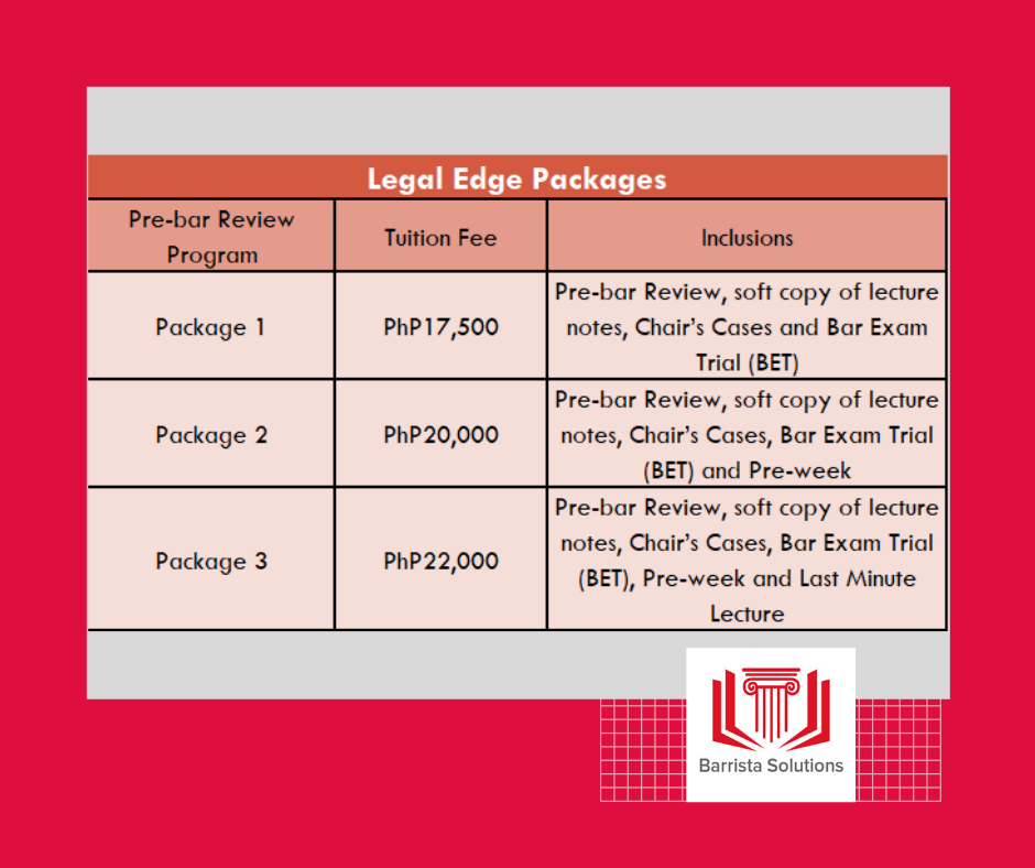 Legal Edge Bar Review Fee Structure