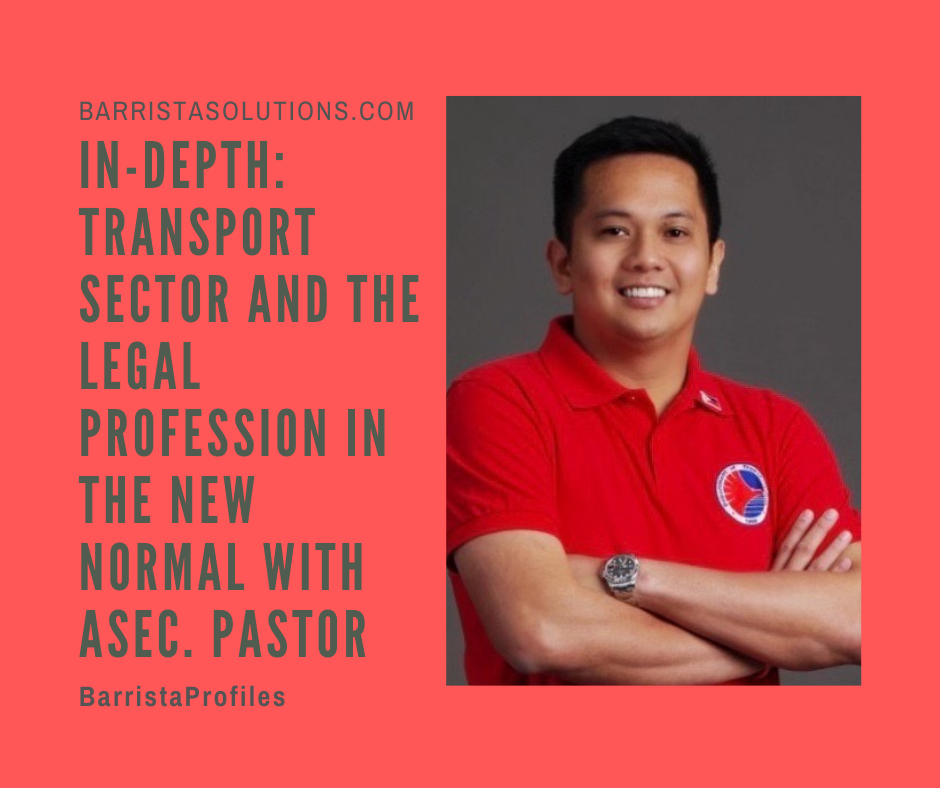 Department of Transportation Assistant Secretary Mark Steven Pastor Pastor talks about the practice of Law in  the government service and the transport sector in the Philippines.