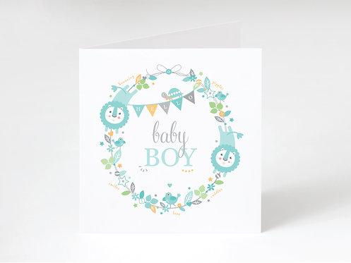 BABY BOY WREATH - greeting card