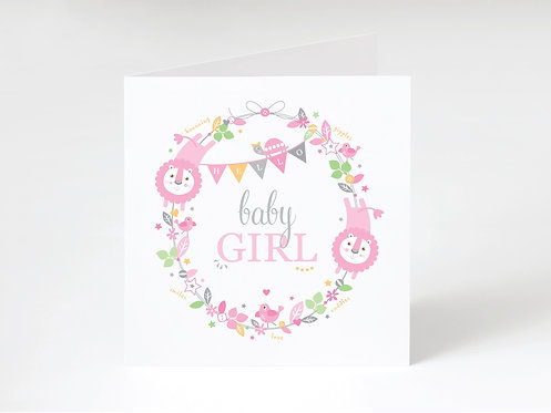 BABY GIRL WREATH - greeting card