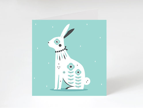 SITTING HARE - greeting card
