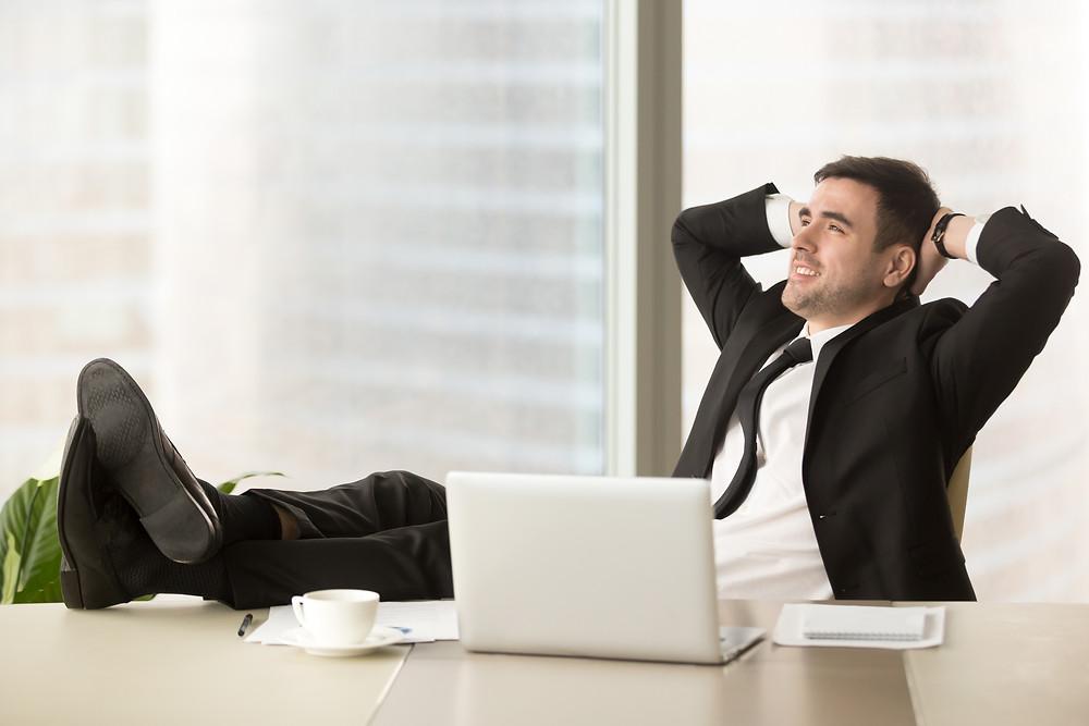 Relaxamento no ambiente de trabalho.