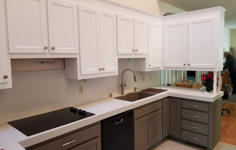 Two color cabinet refacing