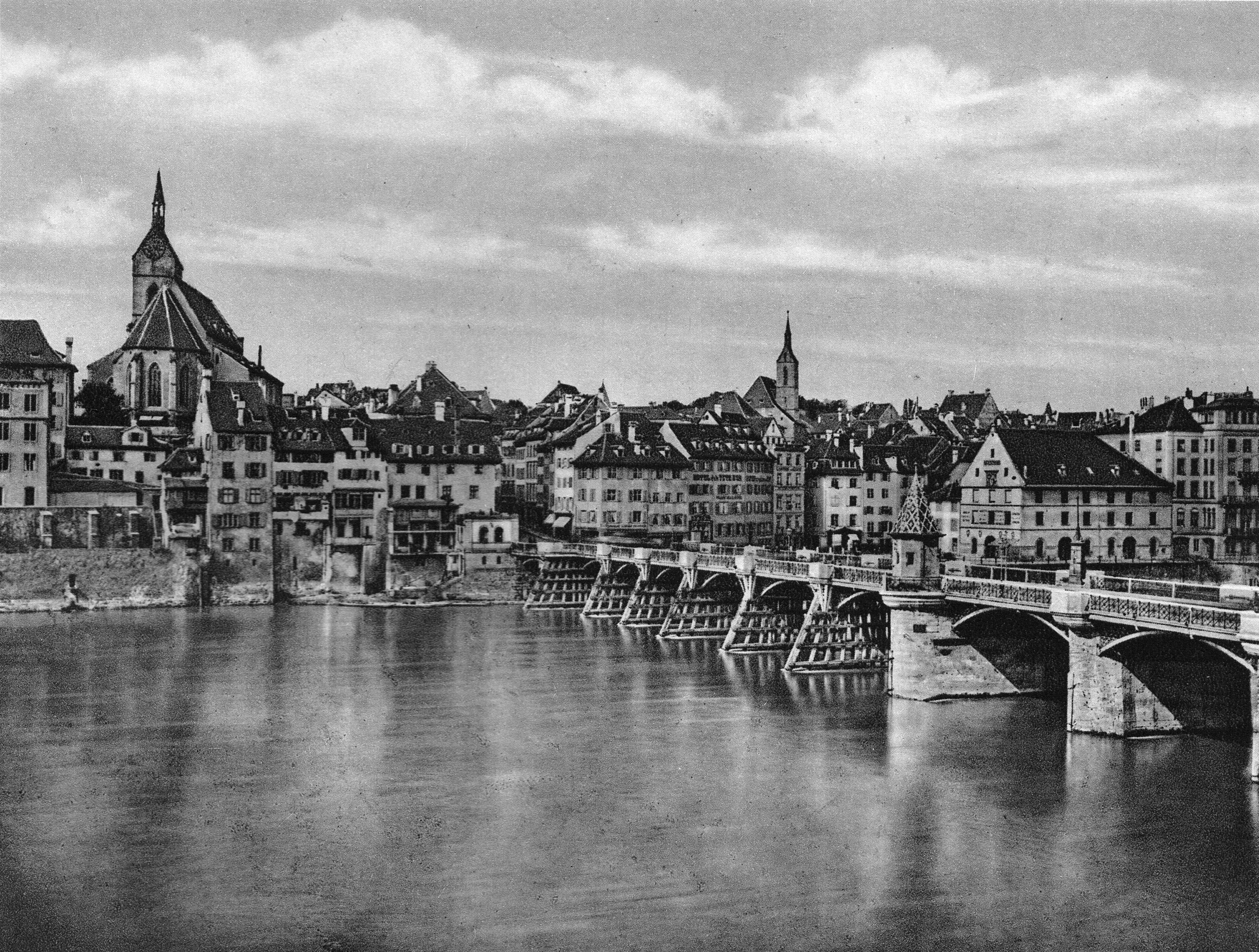 Die alte Rheinbrücke um 1870