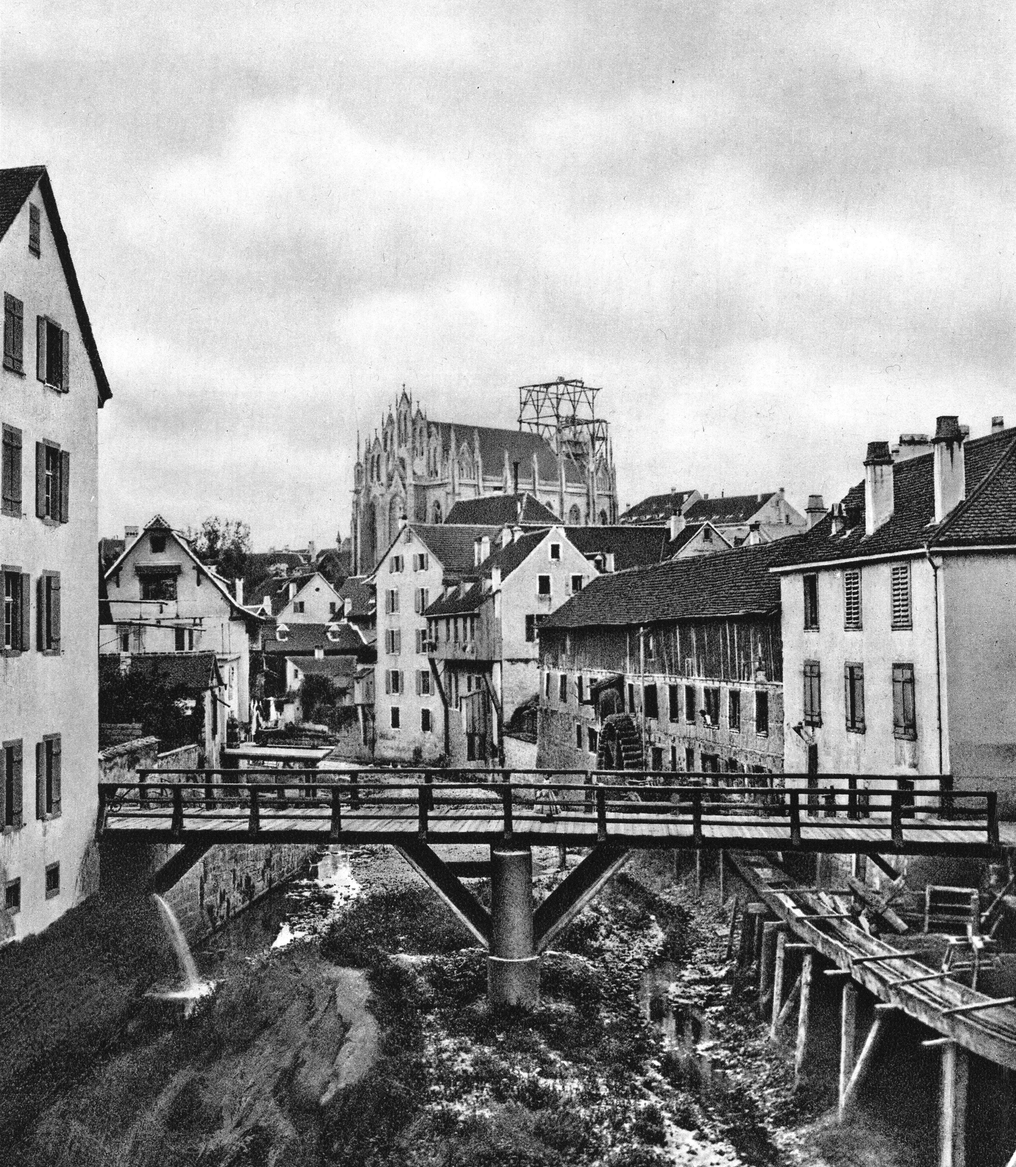 Der Birsig bei der Lohhofbrücke 1864