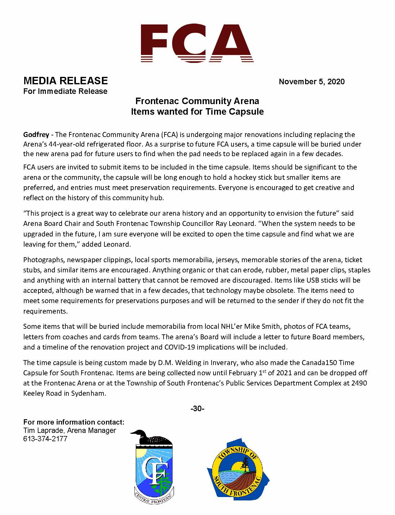 For Immediate Release_FCA Time Capsule
