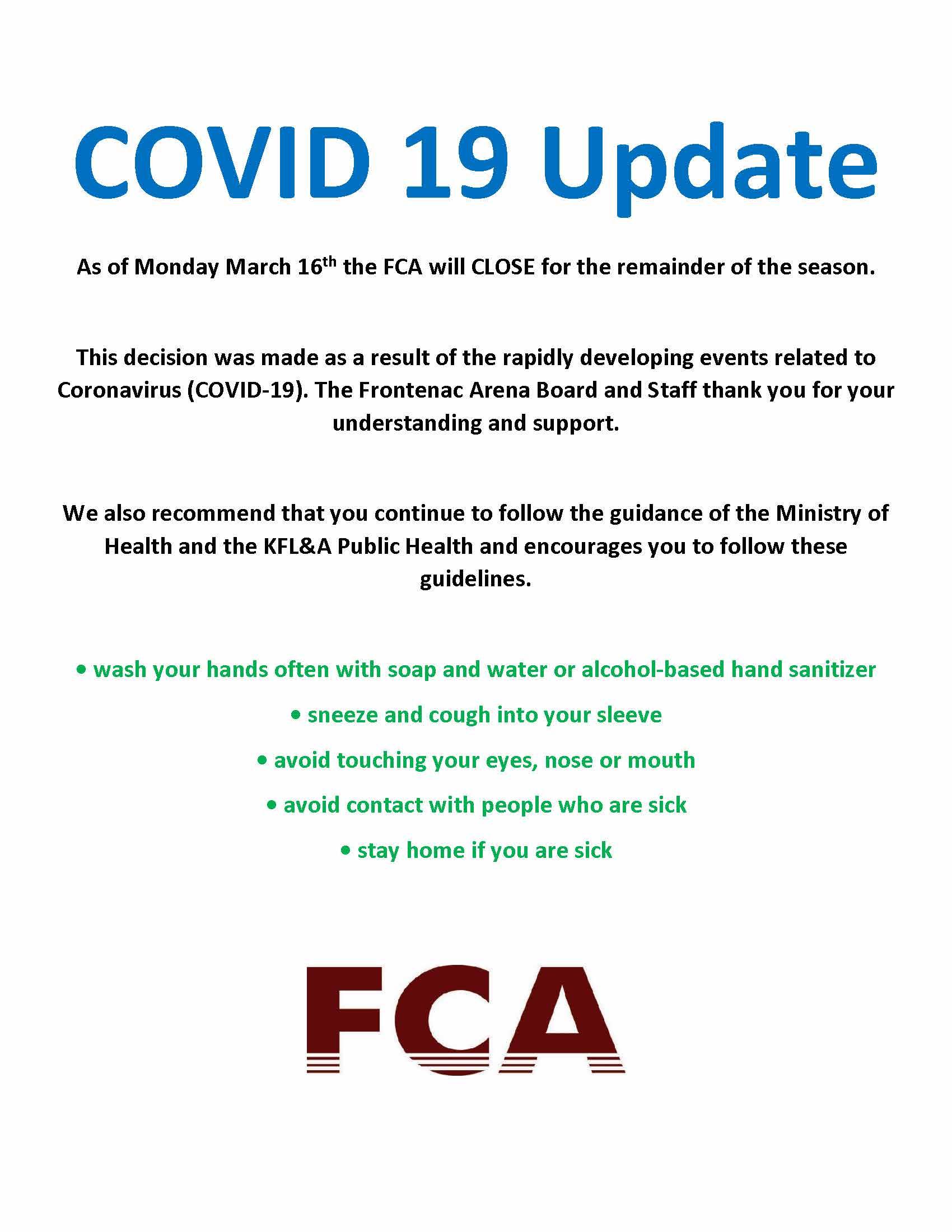 COVID 19 Arena Closure