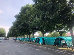 Pala Crs svuotato: allestite le tende per i braccianti agricoli al fondo del viale alberato del Foro