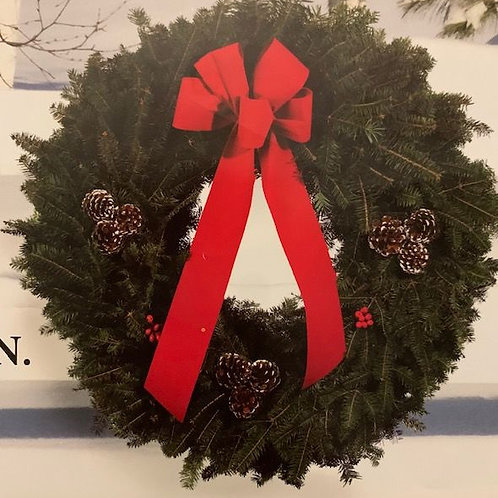 """N. 25"""" Winter Wreath with Pine Cones"""