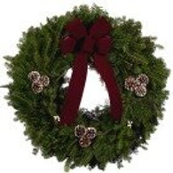 "L. 25"" Wreath with Burgundy Bow"