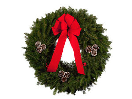 "K. 30"" Wreath with Bow and pine cones"