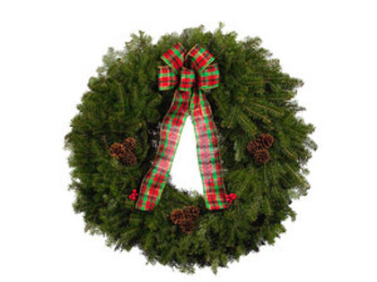 "E. 25"" Wreath with Plaid Bow"