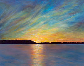 limited edition giclee reproduction of sunset at Redwing Cottages by award winning artist Deanna Weinholtz, available for purchase