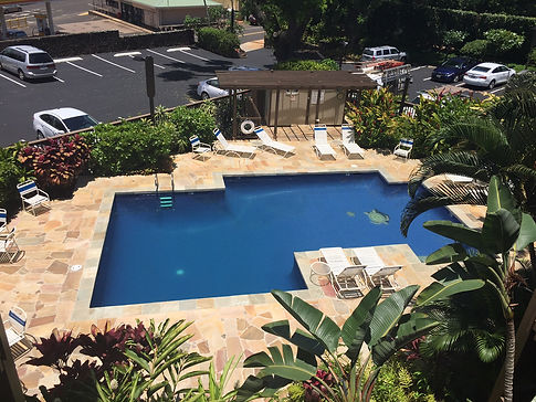 Pool area at Wailua Bay View vacation condo rentals on Kauai.