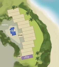 Property map location of Kauai condo rental 201 at Wailua Bay View in Kapa'a.