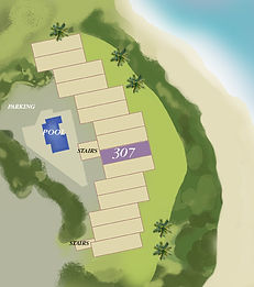 Property map location of Kauai condo rental 307 at Wailua Bay View in Kapa'a.