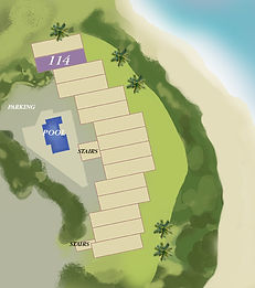 Property map location of Kauai condo rental 114 at Wailua Bay View in Kapa'a.
