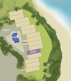 Property map location of Kauai condo rental 305 at Wailua Bay View in Kapa'a.