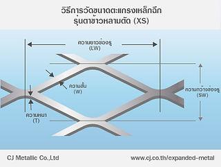 วิธีการวัดขนาดตะแกรงเหล็กฉีก รุ่นตาข้าวหลามตัด (XS) - ซีเจ